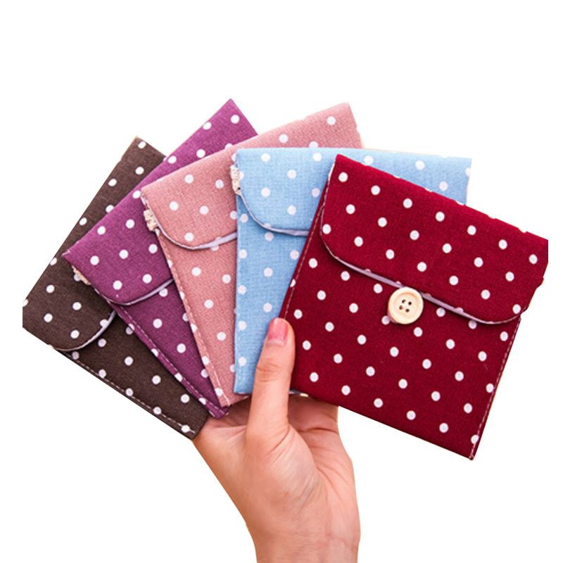 2017 Portable Dot Cotton Linen Storage Bags Organizer Female Hygiene Sanitary Napkins Package Small Coin Purse Lady Wallet New