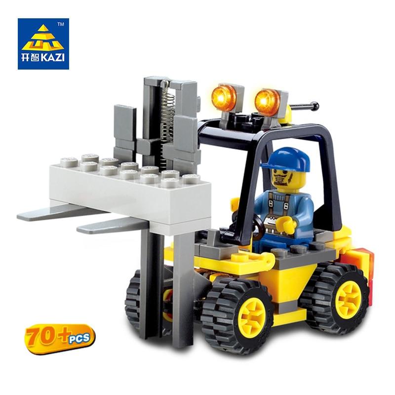 KAZI City Build Model Building Blocks Engineer Forklift Truck Playmobil Bricks Sets Brinquedos Educational Toys for Children