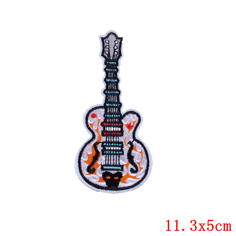 Beautiful Red Electric Guitar Embroidered Iron on Patch Free Postage