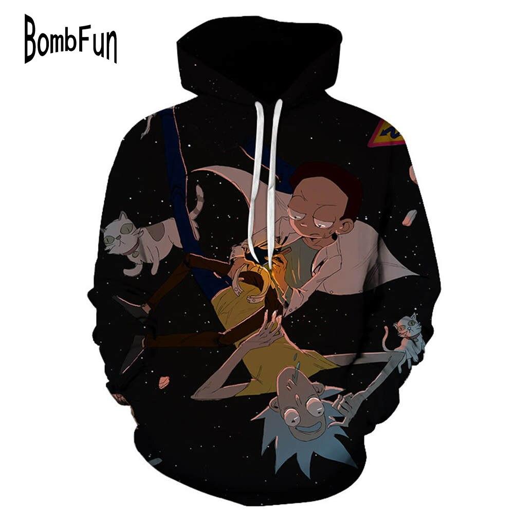 BombFun New Fashion Cartoon Hoodies Rick and Morty 3D Print Sweatshirts Men/Women Hoody Streetwear Casual Hooded Pullovers Tops