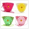 Summer Colorful Women Kid Flower Messenger Mini Knitted Straw Bags Girls Shoulder Tote Keys Coin bag Beach Bag Bolsas Feminina