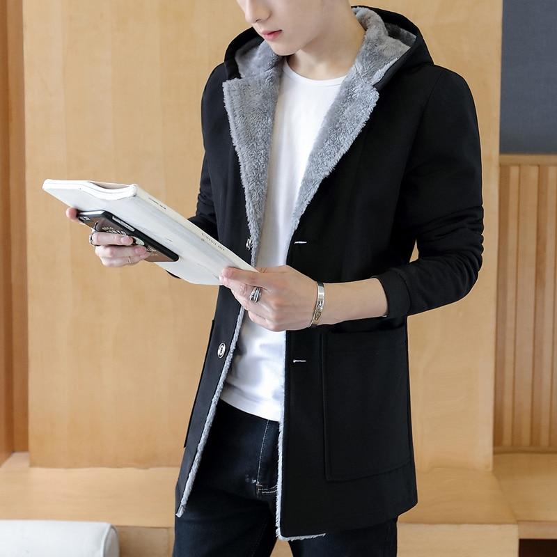 2018 Fashion Winter Men S Cashmere Warm Jacket Hoodie Trench 5xl