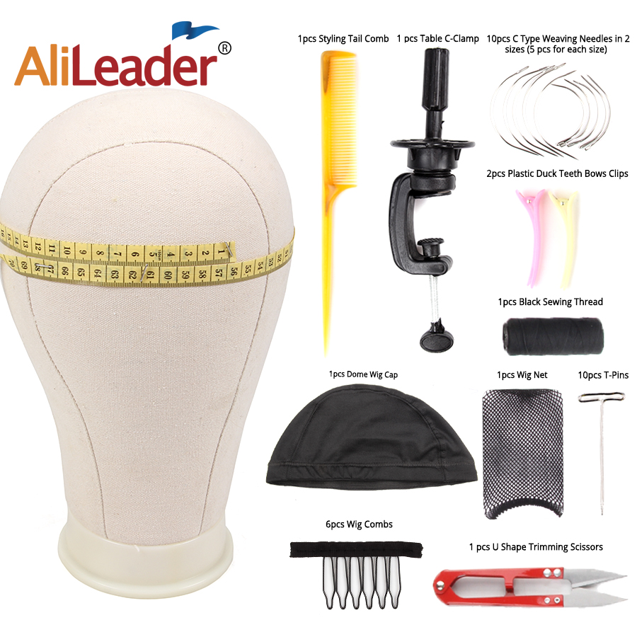 AliLeader Styrofoam Canvas Wig Head With Stand Block Hair Cap For Making Wigs White Mannequin Curved Needle Mesh Dome Caps