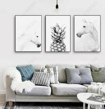 Modern Posters and Prints Animal Horse Pineapple Canvas Painting Nordic Minimalist Wall Art Picture for Living Room Decoration
