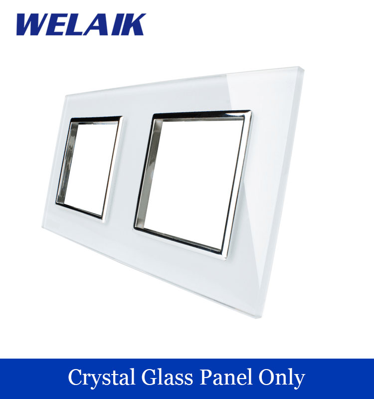 WELAIK  Touch Switch DIY Parts  Glass Panel Only of Wall Light Switch Black White Crystal Glass Panel Square hole  A288W/B1 welaik crystal glass panel switch white wall switch eu remote control touch switch light switch 1gang2way ac110 250v a1914xw b