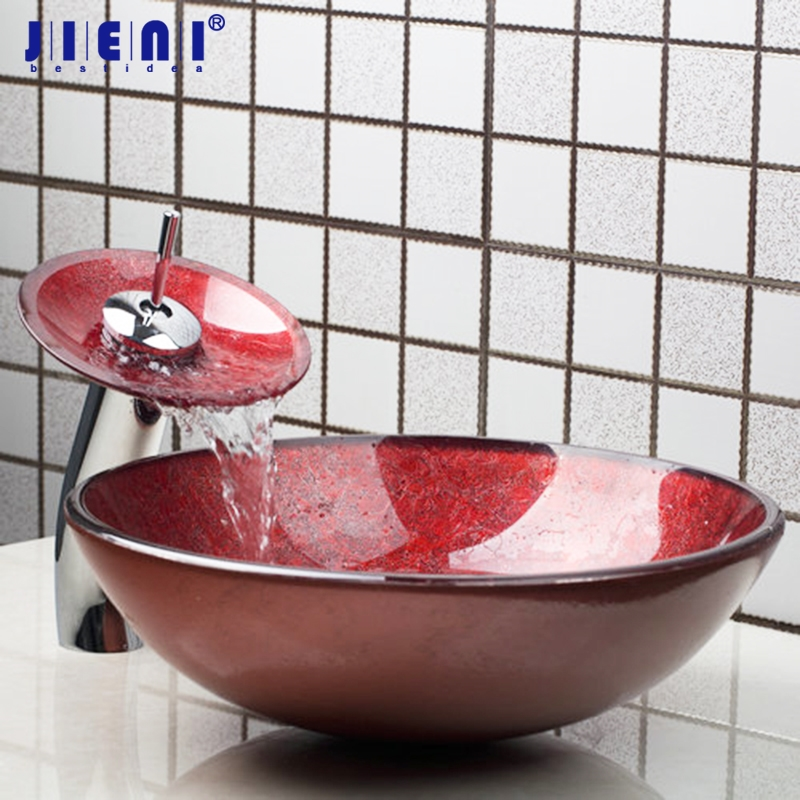 Red Bathroom Sink Washbasin Glass Hand Painted +Waterfall Basin Tap 4283 1  Lavatory Bath Combine Brass Set Tap Mixer Faucet-in Bathroom Sinks from  Home ...
