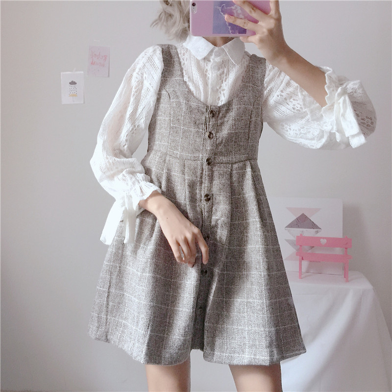 Japanese Women Kawaii 2 Pieces Set Mori Girl White Lace Blouse Gray Plaid Woolen Slim Mini Sundress Cute Preppy Style Outfits