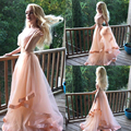 Bonito Duas Peças Frisada Peach Vestidos Light Pink Prom vestido Em Camadas de Tule vestido Longo do Baile de finalistas Vestidos de Meninas Vestidos de Festa de Formatura RT41