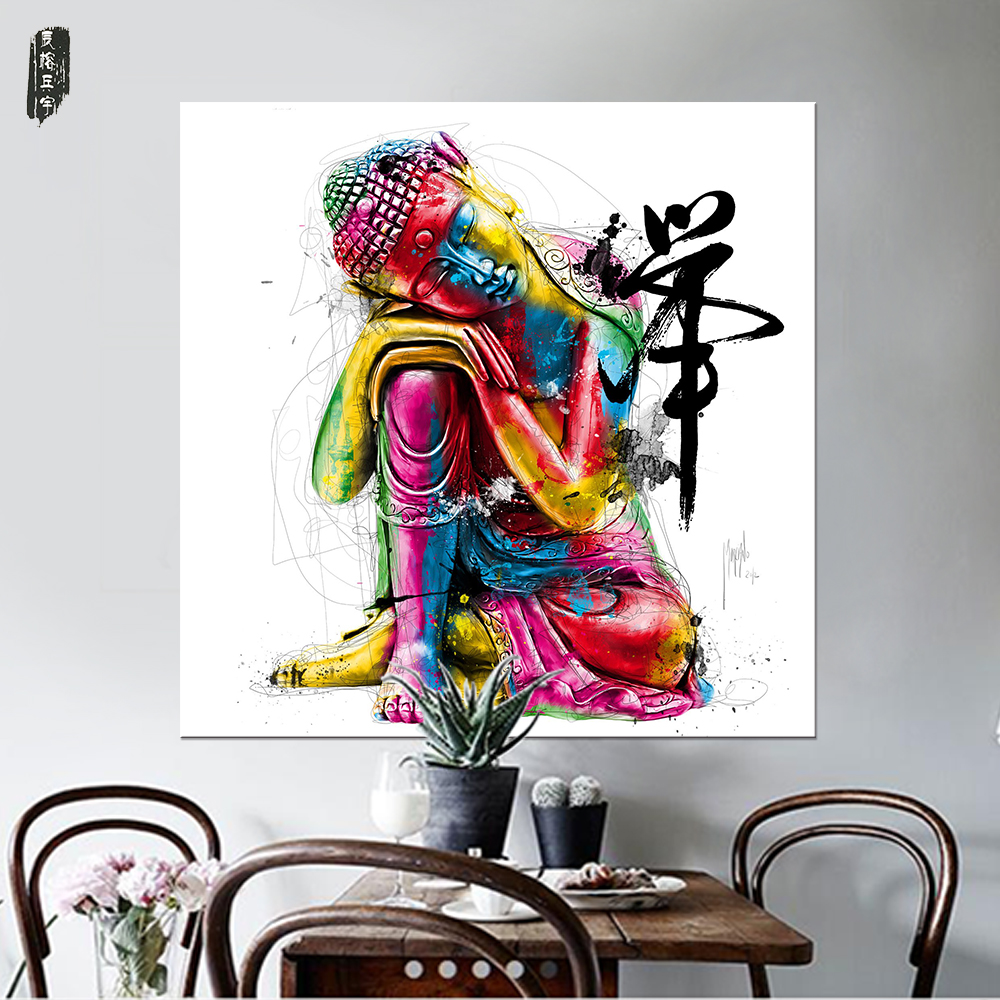 watercolor buddha wall art abstract canvas painting modern home decor posters and prints nordic. Black Bedroom Furniture Sets. Home Design Ideas