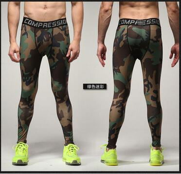 Men's Camouflage Compression Pants Active MMA Fitness Workout Crossfit Leggings Elastic Tights Trousers Exercise