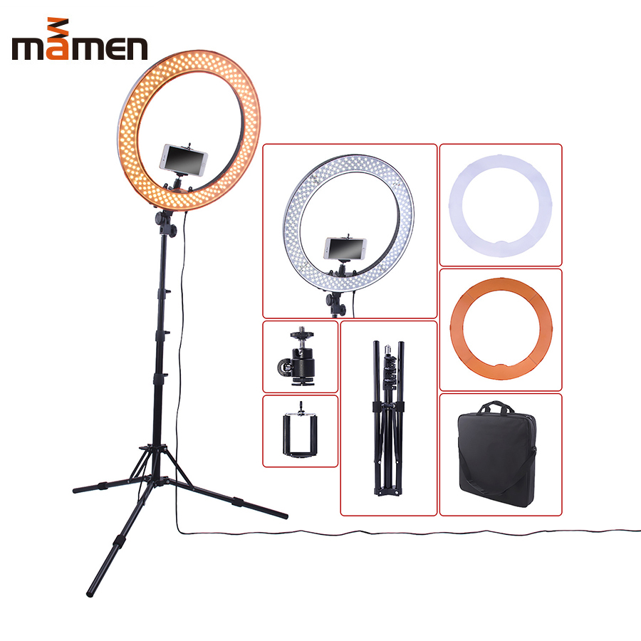 MAMEN 18inch 55W 240 LED Photographic Lighting Dimmable Camera Photo/Studio/Phone/Video Photography Ring Light Lamp&Tripod Stand