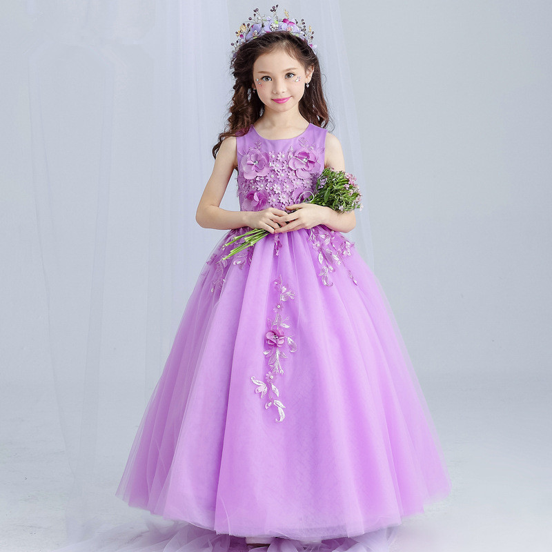 Purple Long Girls Dress Appliques Flower Girl Vestido Birthday Wedding Clothes 3 4 6 8 10 12 14 Years Old RKF174019