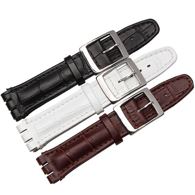 17mm 19mm negro marrón blanco correas de reloj de cuero genuino banda reloj de reemplazo para swatch mujeres hombres