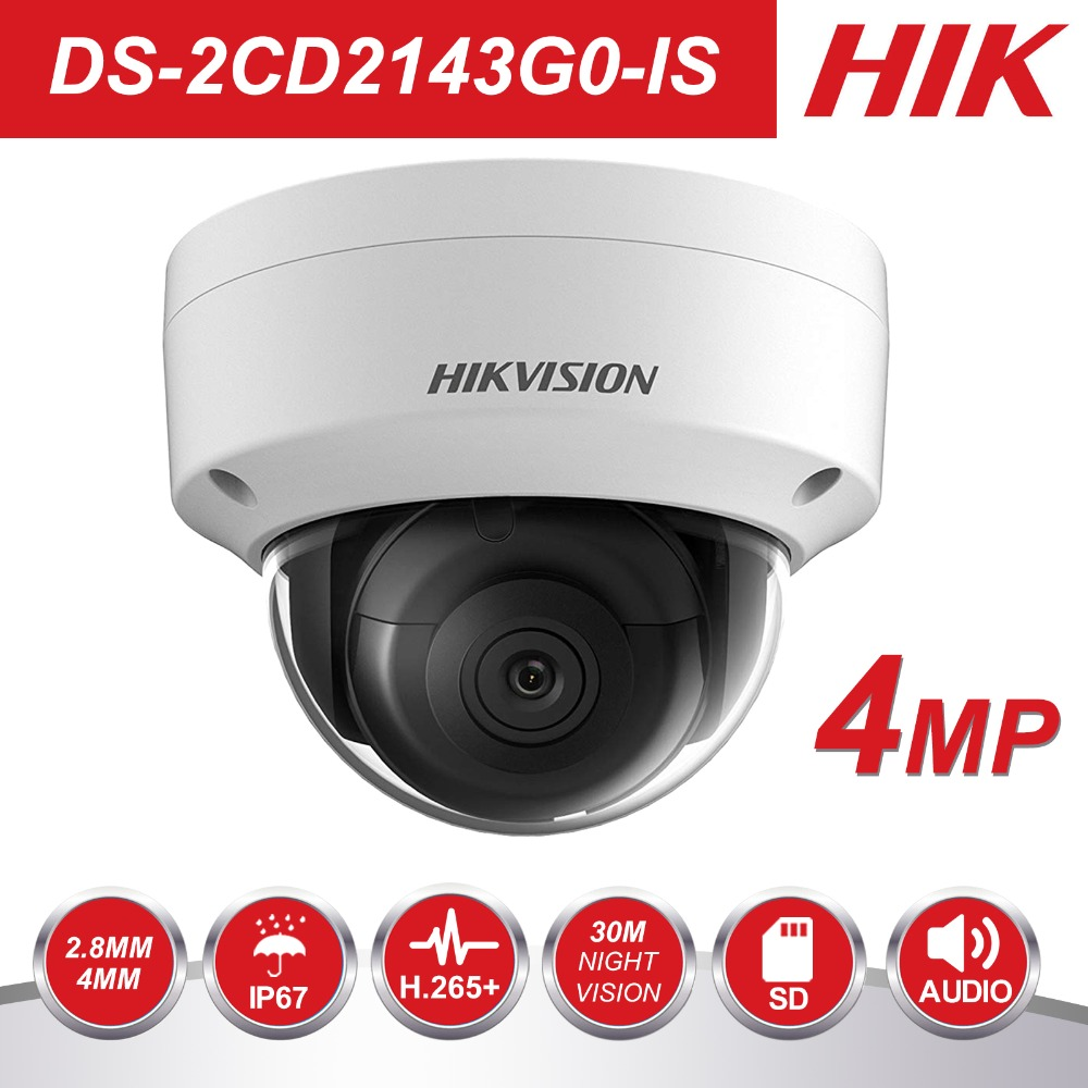HIK 1080P CCTV-kamera DS-2CD2143G0-IS 4.0MP Dome IP-kamera Utendørs / innendørs sikkerhet IP-kamera Innebygd SD-kortspor