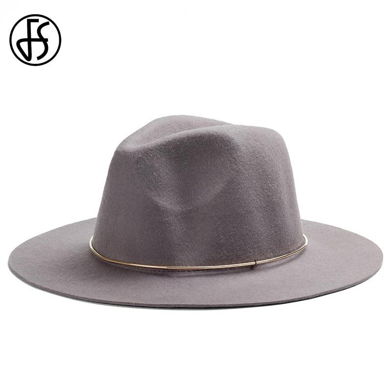 FS Fashion Wide Brim Wool Hats For Women Men Felt Trilby Fedoras Black With Metal Circule Bowler Panama Jazz Hat Chapeau Femme