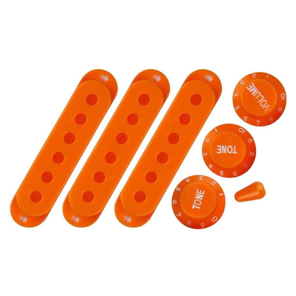 Nowy zestaw części do gitary 52/52/52mm osłona przetwornika single coil gitara strat kontrola prędkości pokrętła głośności przełącznik wskazówka pomarańczowy