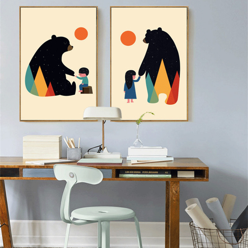 HAOCHU Cartoon Abstract Starry Bear Hold Boy/Girl Hands Canvas Painting Art Poster Wall Pictures for Children Room Decor