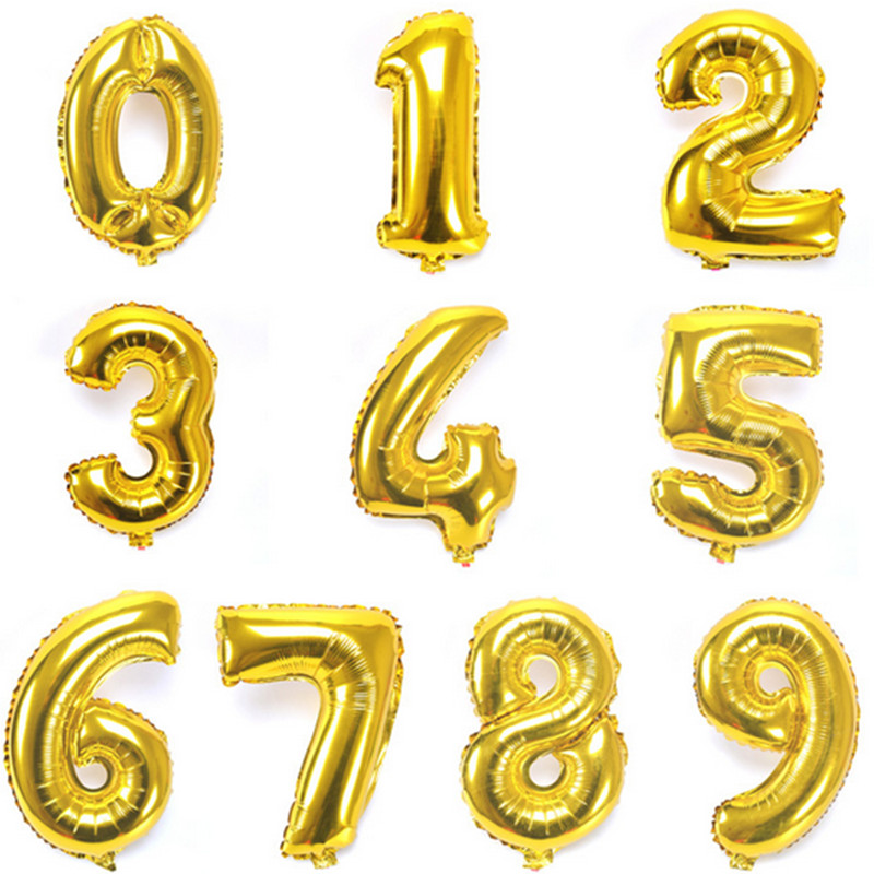 Sincere 1pcs 16 Inch Gold Digital Balloons Aluminum Foil Balloon Wedding Decorate Letters Balloon Children Birthday Party Event & Party