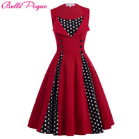 Belle Poque Women Summer Dress 2017 Retro Robe Ete Polka Dot Pin Up Plus Size Clothing