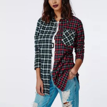 Nice European Style Nice Autumn Lady Vogue Shirt Classic Plaid Pattern Hit Color Blouse Lapel Single Breasted Shirt Tops AA8085