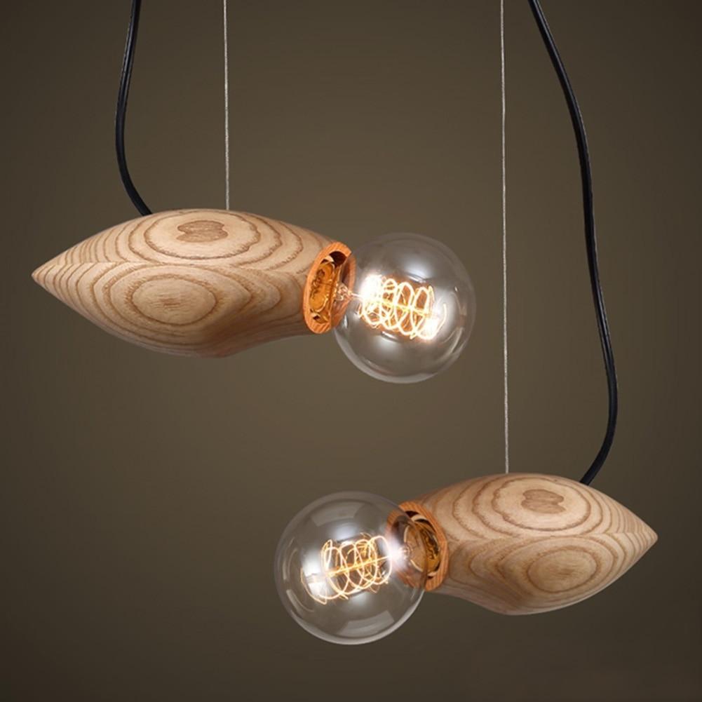 Details about e27 type plug in hanging pendant light fixture lamp bulb - Wood Fish Style Pendant Lamp Creative Pensonality Pendant Lights Loft Industrial Retro E27 Lamp Bulb For