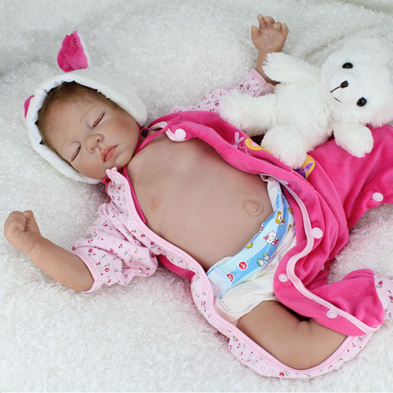22 Cute Silicone Reborn Baby Dolls Sleeping Babies Lifelike Realistic Reborn Babies Doll Toys For Girls Sweet Dreaming Teddy 55cm 22inches silicone doll reborn babies dolls handmade realistic lifelike baby toys cute collectible boy