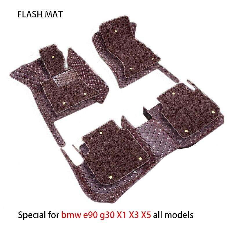Special car floor mats for bmw g30 bmw e90 f01 f10 f11 f25 f30 f45 x1 x3 f25 x5 f15 e30 e34 e60 e65 e70 car accessories car mats