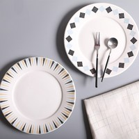 Checked Lace Plate White Three Color Tlace Porcelain Plate 8 Inch Fashion Dinner Plate Creative Steak