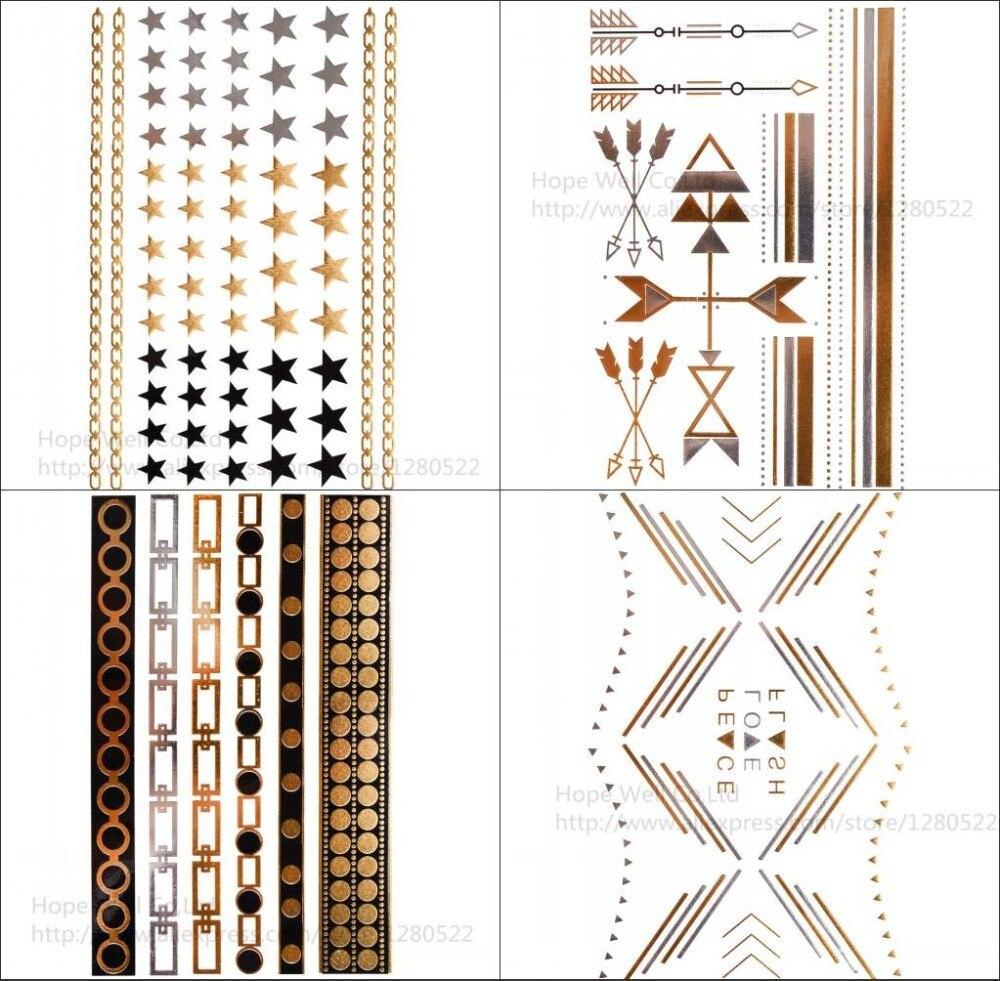 Spirited 4pcs/1set Tattoo Flash Gold Classy Tats Jewelry Inspired Metallic Gold & Silver & Black Tattoos Arm Chain Women Kids Body Art Tattoo & Body Art