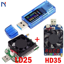 USB 3.0 Voltmeter Ammeter Voltage Current Meter With 25W 35W Load LD25 HD35 Multimeter Battery Charge Power Bank Tester