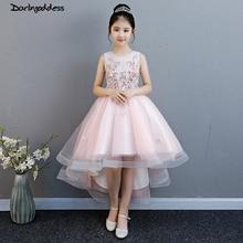купить Pink Flower Girls Dresses for Weddings Ball Gown Kids Children Evening Party Dress 2019 First Communion Dresses For Little Girls по цене 3207.51 рублей