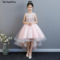 Pink Flower Girls Dresses for Weddings Ball Gown Kids Children Evening Party Dress 2019 First Communion Dresses For Little Girls
