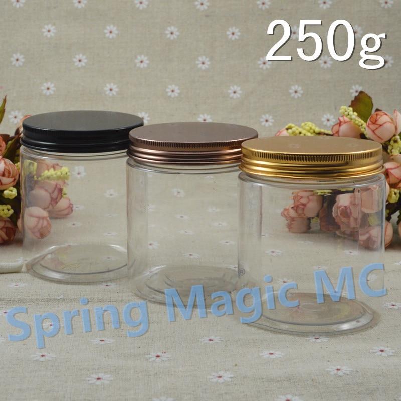 250g Transparent PET Cream Jars With Black Bronze Aluminum Lid 250ml Mask Plastic Jars Powder Storage