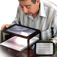 LED Light Reading Magnifying Glass For Elderly Newspaper 3X Magnifier With Holder Folding Portable Big Size