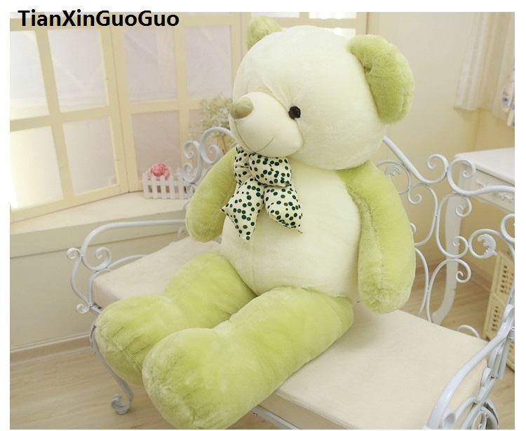 stuffed toy lovely bowtie teddy bear large 100cm green bear plush toy soft doll throw pillow Christmas gift h1417 fall in love teddy bear large 100cm plush toy night sleeping bear doll taking moon throw pillow christmas birthday gift x020