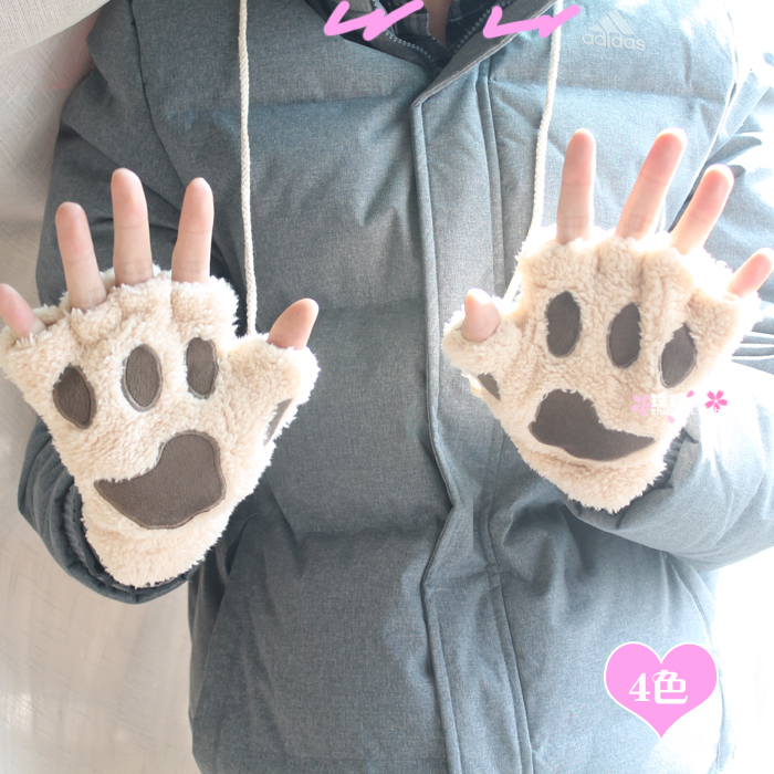 cat's claw paw semi-finger gloves autumn and winter thickening thermal plush mitring multicolor