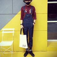 Korean Fashion Men Blue Jeans Overalls New 2017 Mens Bib Jeans With Suspenders Denim Overalls With