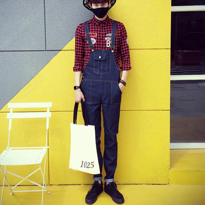 Korean Fashion Men Blue Jeans Overalls 2017 Mens Bib Jeans With Suspenders Harem Denim Overalls With Front Pocket Free Shipping new mens skinny jean overalls blue suspenders multi pocket bib pants holes denim trousers size m 2xl