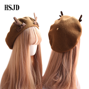 Image 3 - Girl Spring Winter Berets Hat Cute Deer Horn Wool Berets Women Bowknot Painter style hat Female Bonnet Warm Walking Cap antlers