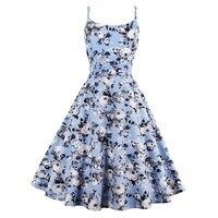 Sisjuly Vintage Dresses Summer Print Floral 1950s Style Elegant Party Dress Patchwork Sleeveless Tank Round Neck