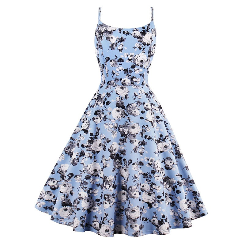 Sisjuly Vintage Dresses Summer Print Floral 1950s Style Elegant Party Dress Patchwork Sleeveless Tank Round Neck