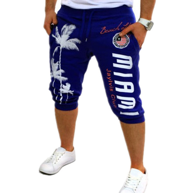 2016 Summer Men Shorts Brand Design Coconut Tree Print Short Beach Trousers Mens Casual Shorts Harem Jogger Sweat Shorts