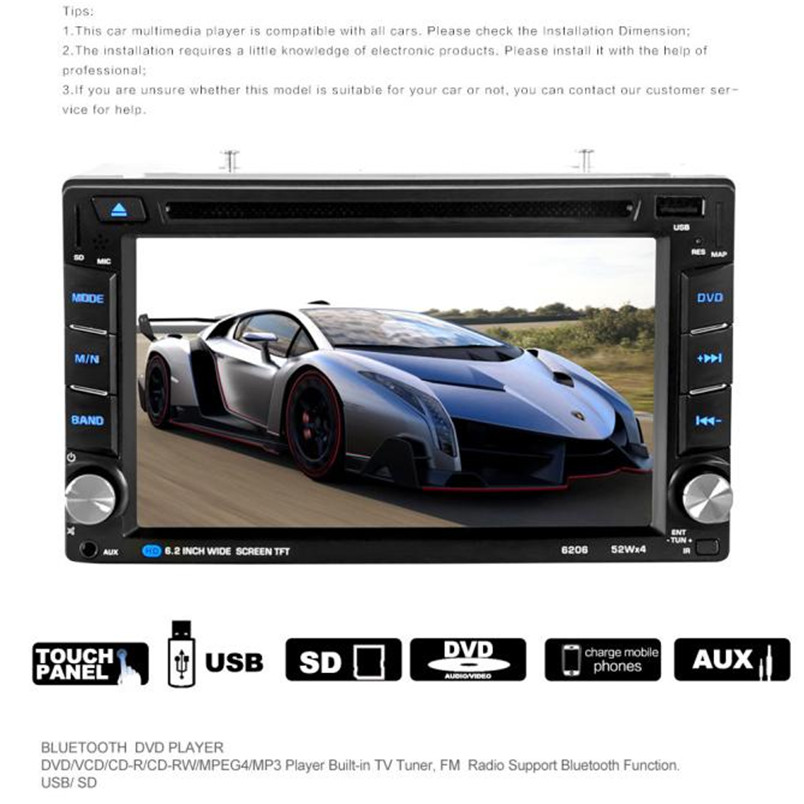 6.5 Double 2DIN Touch Car Stereo CD DVD Player Bluetooth USB SD AM FM TV Radio  P30 Support Drop Shipping August 11 9 inch car headrest dvd player pillow universal digital screen zipper car monitor usb fm tv game ir remote free two headphones