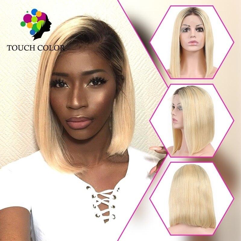 Ombre cabelo humano em linha reta peruca dianteira do laço brasileiro curto bob peruca pixie corte perucas para mulheres ombrecolored loira azul 13x4 peruca de renda
