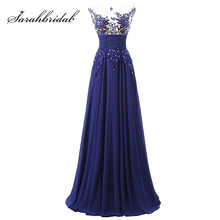 Elegant Floor Length Formal Evening Dresses Chiffon long Party Dresses with Appliques and Crystals Hot Sale
