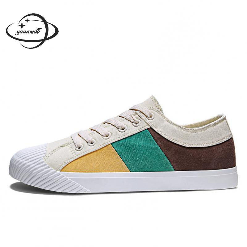 mens vulcanize Shoes spring autumn male canvas shoes slip-on flat heel patchwork color breathable man shoes Y50(China)