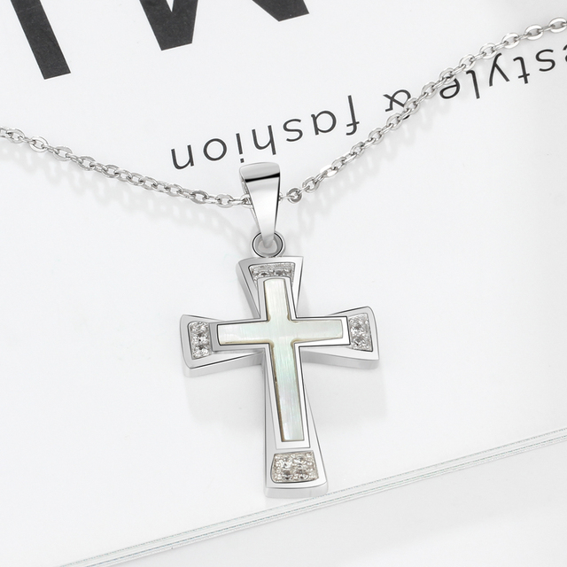 100% 925 Sterling Silver Mother of Pearl Pendant Necklace Classic Floral Cross Necklace Cubic Zirconia Jewelry (Lam Hub Fong)