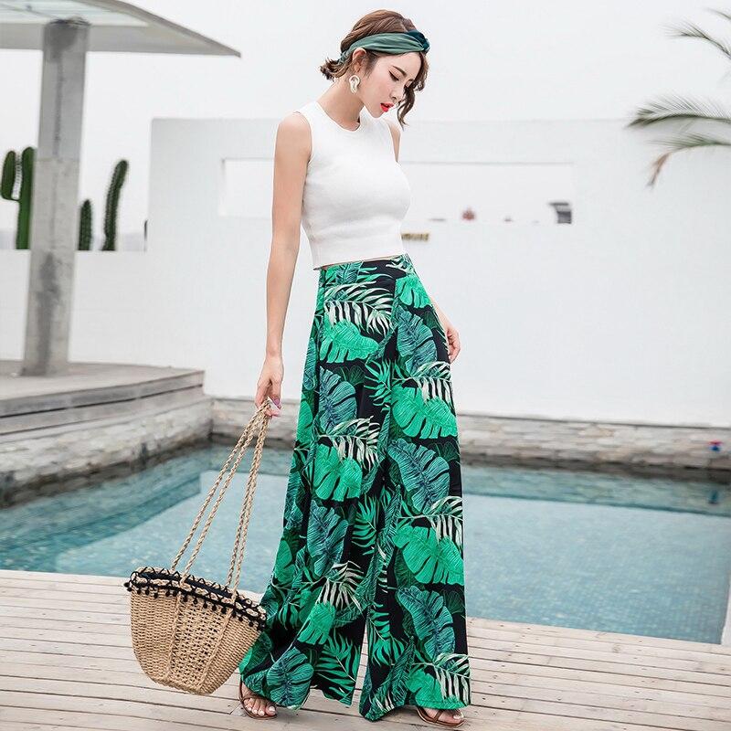 Careful El 2018 De Las Mujeres Verano Casual Retro Bohemio Pantalones De Pierna Ancha De Cintura Alta, Las Piernas Pantalones Limpiando