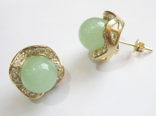 2 couleurs gros mode bijoux jolie 8 mm rond vert clair / vert NoEnName_Null & cristal boucle doreille # 002
