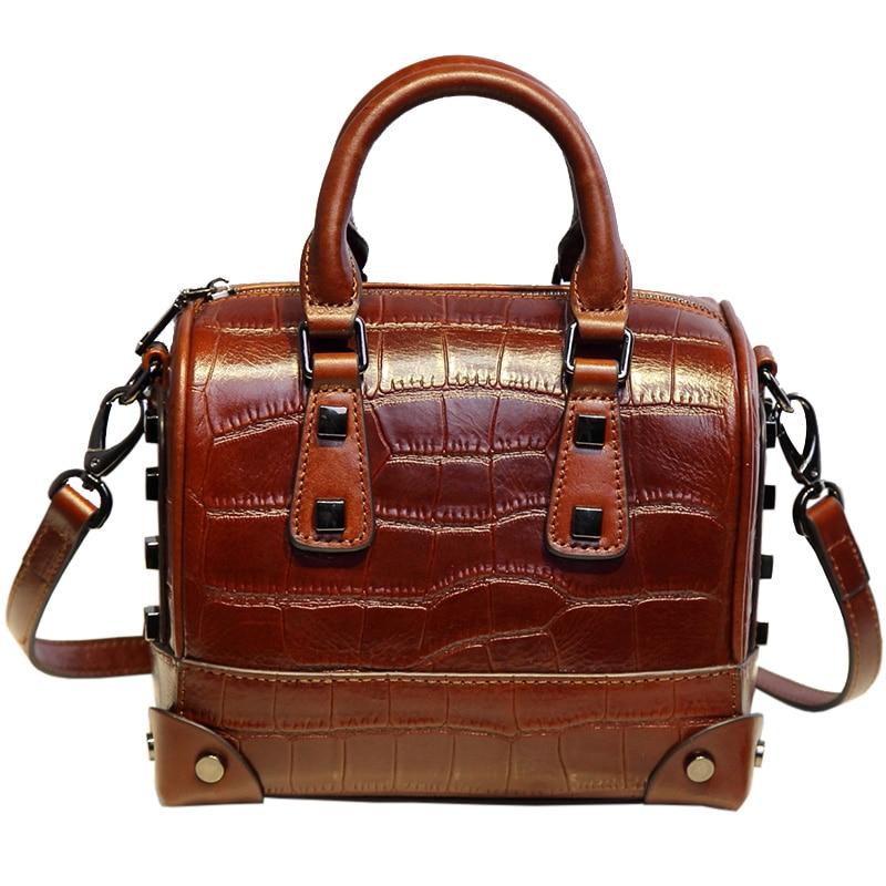 цена на Amasie New Arrival 2018 Boston Vintage Women Handbag Crossbody Bag Rivet Tote Crocodile Leather Women Bag EGT0124